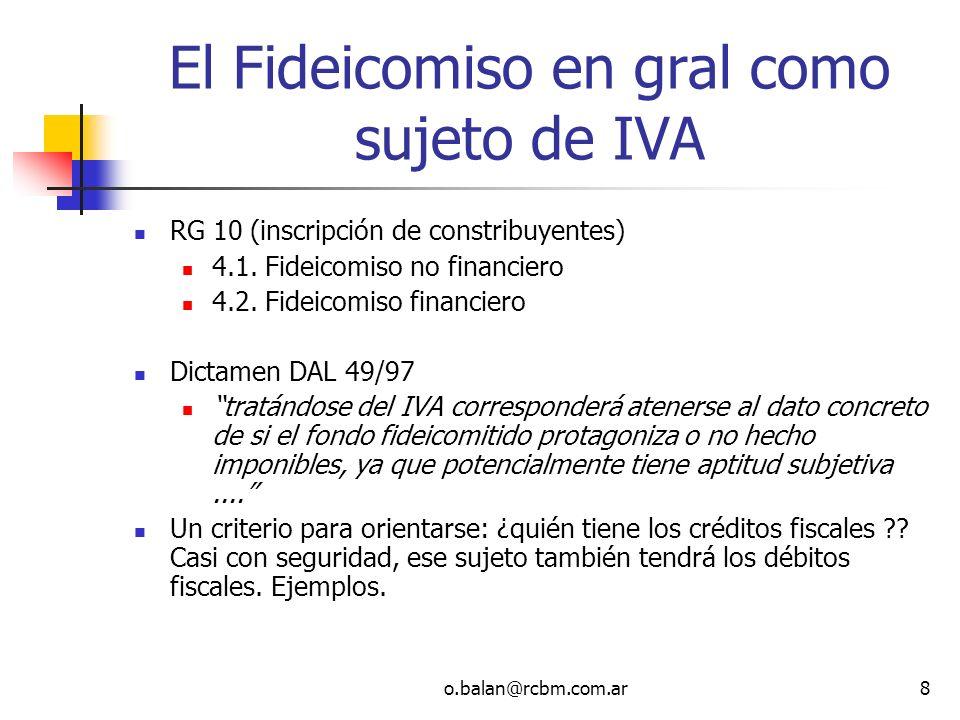 El Fideicomiso en gral como sujeto de IVA