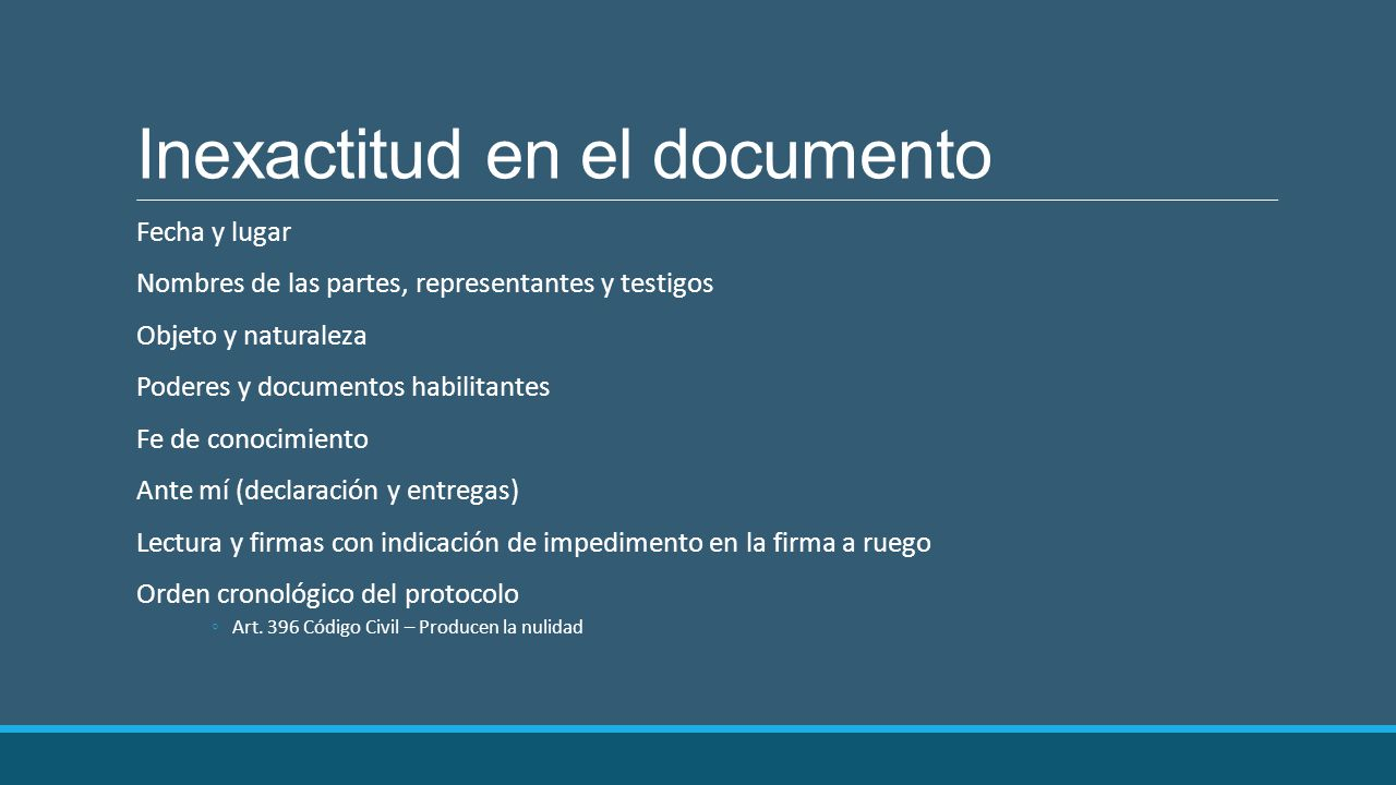 Inexactitud en el documento
