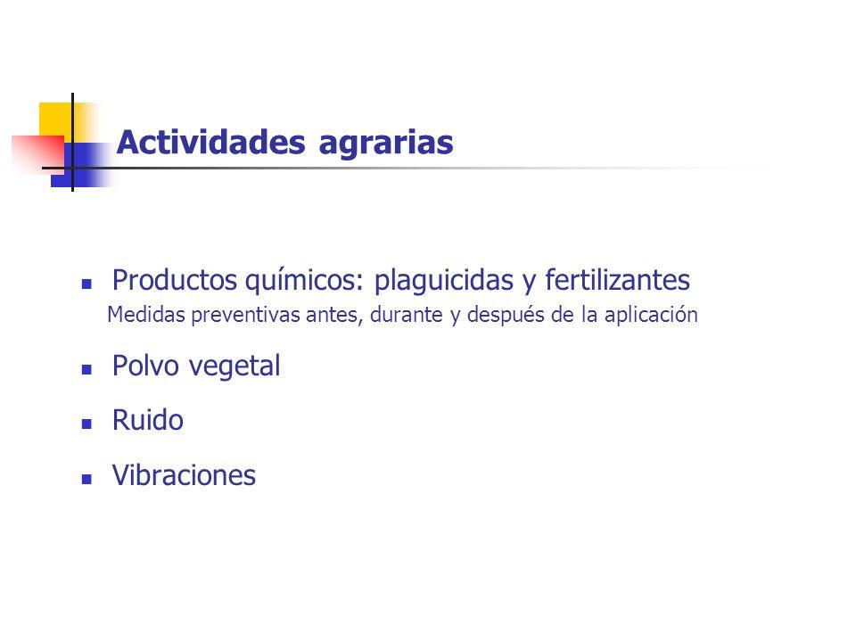 Actividades agrarias Productos químicos: plaguicidas y fertilizantes