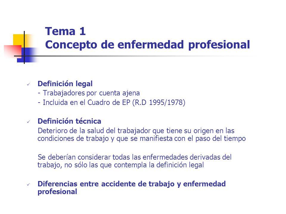 Tema 1 Concepto de enfermedad profesional
