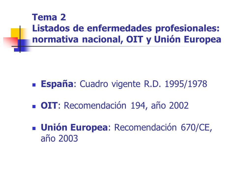 Tema 2 Listados de enfermedades profesionales: normativa nacional, OIT y Unión Europea