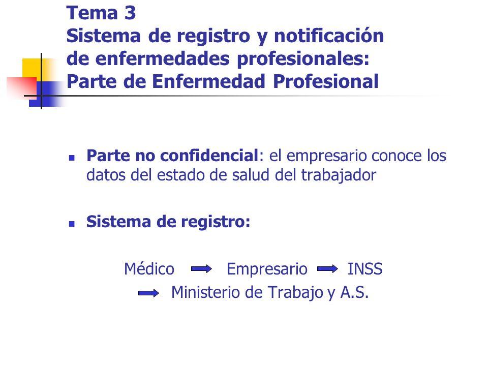 Tema 3 Sistema de registro y notificación de enfermedades profesionales: Parte de Enfermedad Profesional