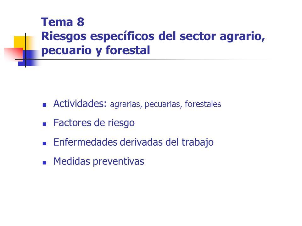 Tema 8 Riesgos específicos del sector agrario, pecuario y forestal