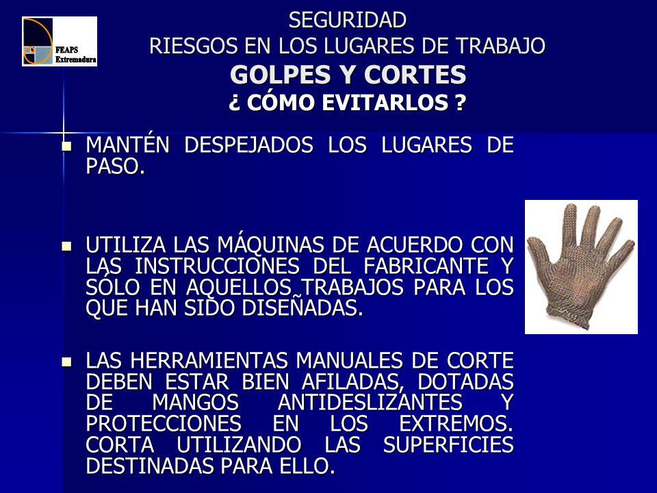 SEGURIDAD RIESGOS EN LOS LUGARES DE TRABAJO GOLPES Y CORTES ¿ CÓMO EVITARLOS