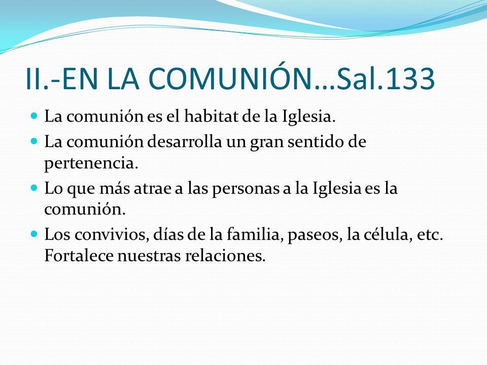 II.-EN LA COMUNIÓN…Sal.133 La comunión es el habitat de la Iglesia.