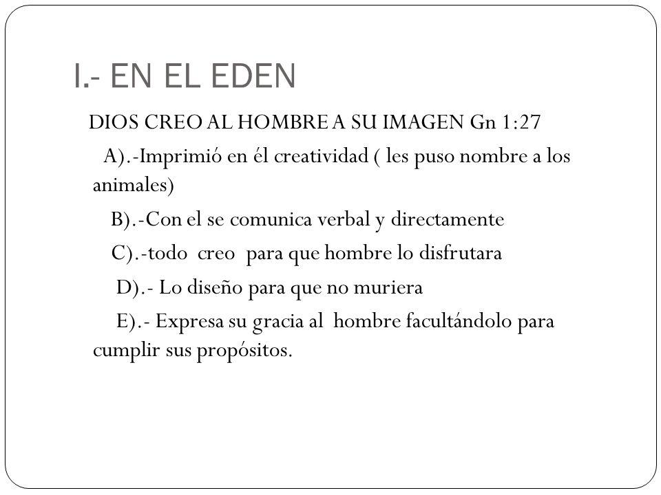 I.- EN EL EDEN