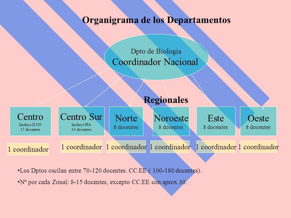 Organigrama de los Departamentos