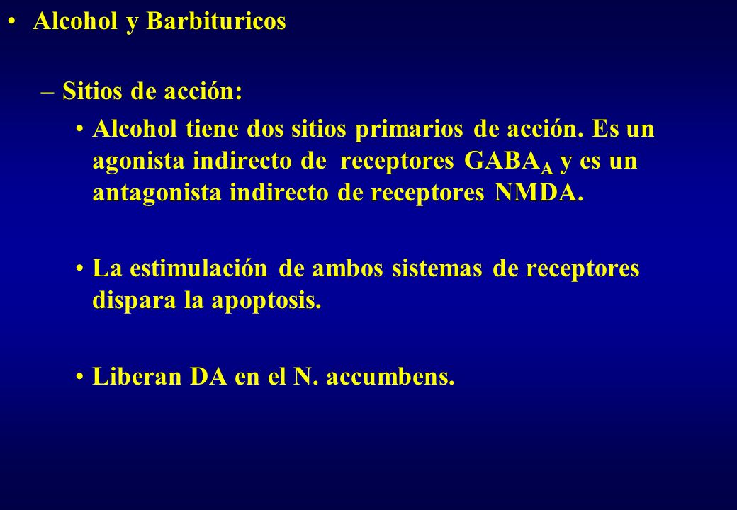 Alcohol y Barbituricos