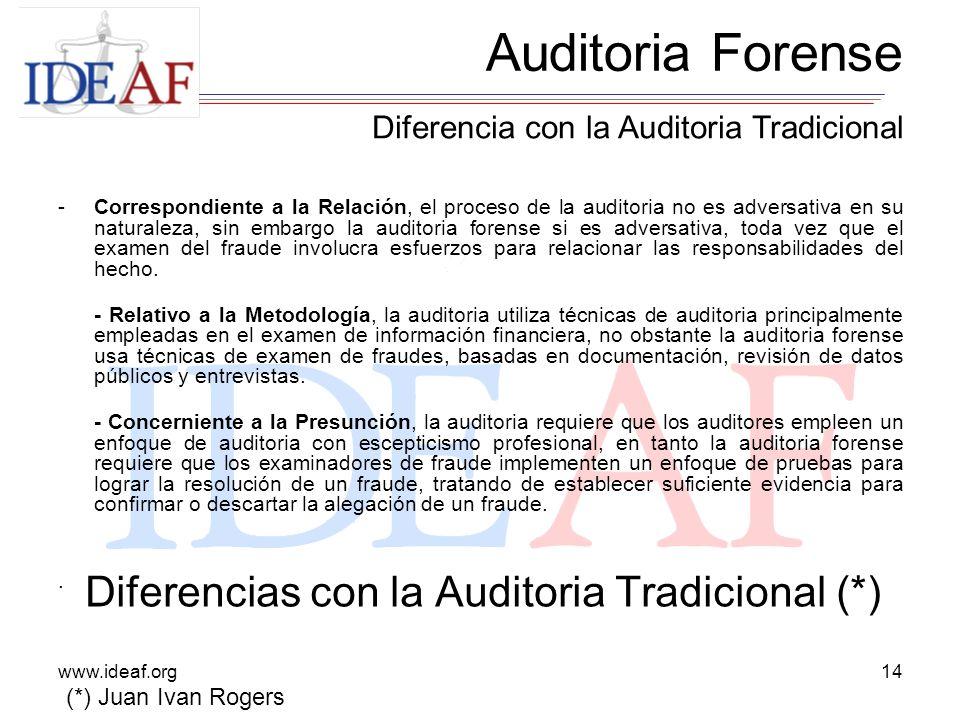 Diferencias con la Auditoria Tradicional (*)