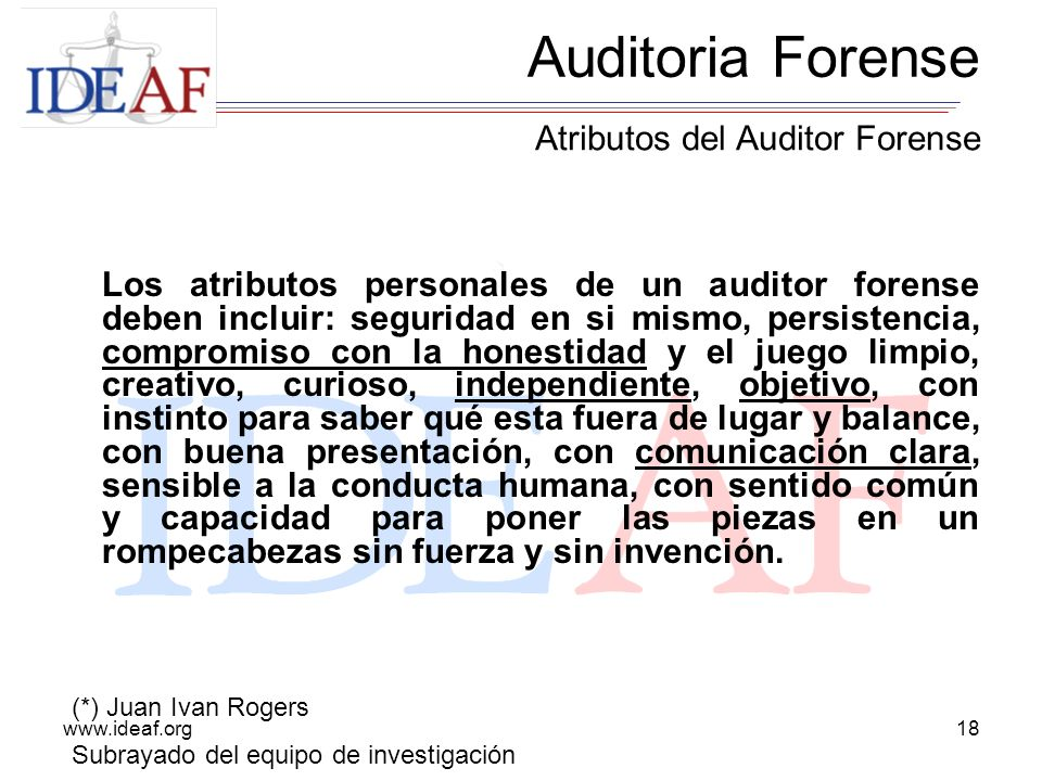 Auditoria Forense Atributos del Auditor Forense