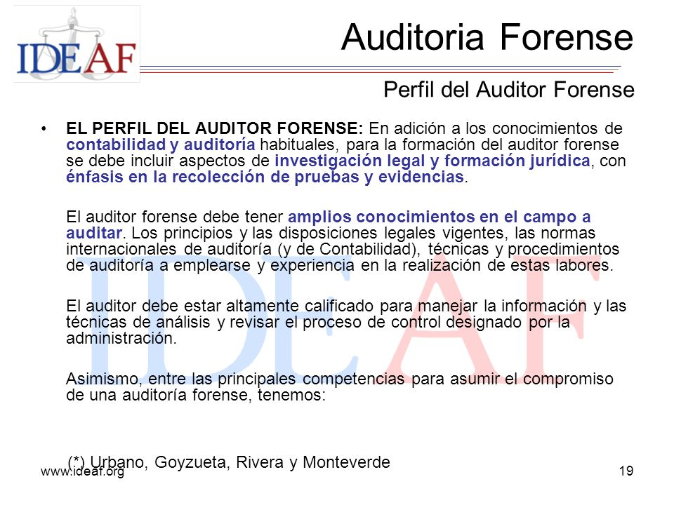 Auditoria Forense Perfil del Auditor Forense