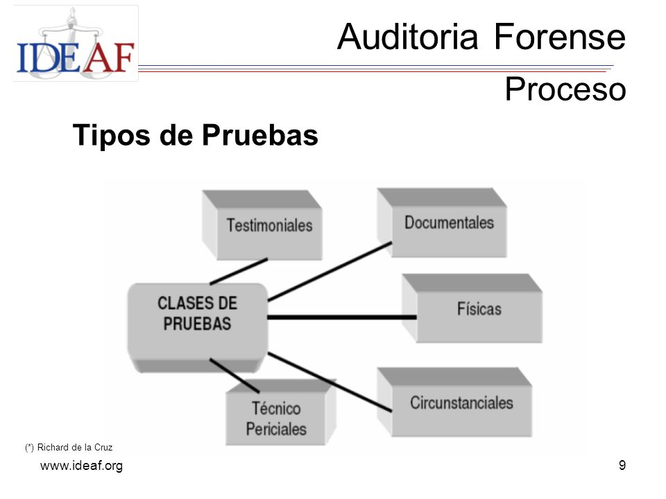 Auditoria Forense Proceso Tipos de Pruebas www.ideaf.org
