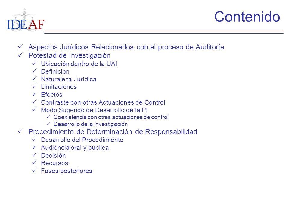 Contenido Aspectos Jurídicos Relacionados con el proceso de Auditoría