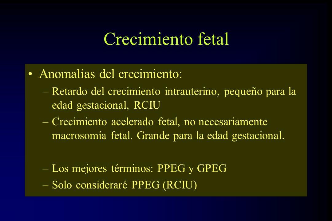 Crecimiento fetal Anomalías del crecimiento: