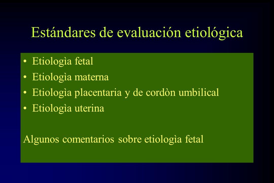 Estándares de evaluación etiológica