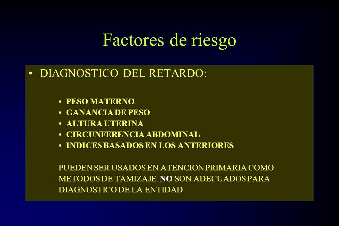 Factores de riesgo DIAGNOSTICO DEL RETARDO: PESO MATERNO