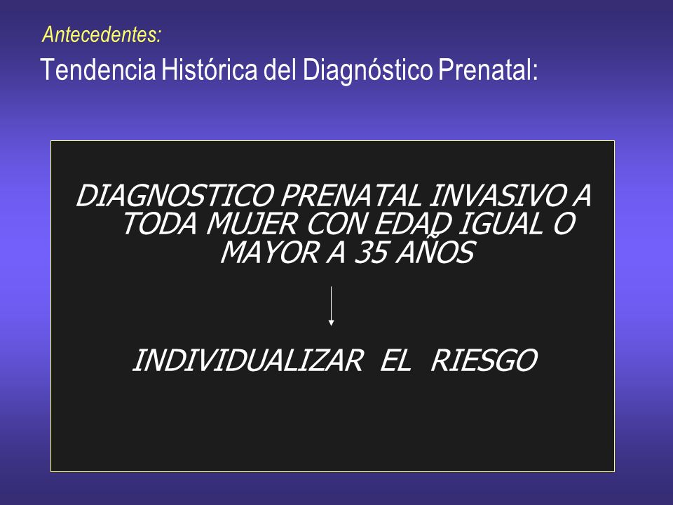 Antecedentes: Tendencia Histórica del Diagnóstico Prenatal: