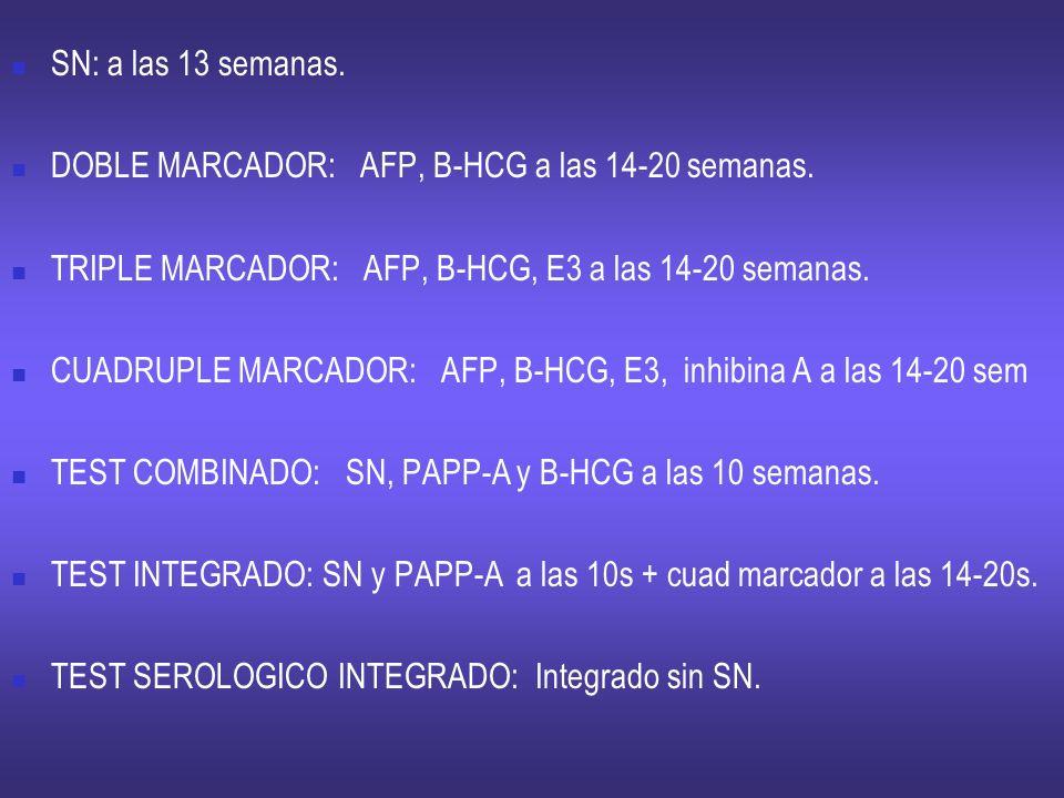 SN: a las 13 semanas.DOBLE MARCADOR: AFP, B-HCG a las 14-20 semanas. TRIPLE MARCADOR: AFP, B-HCG, E3 a las 14-20 semanas.