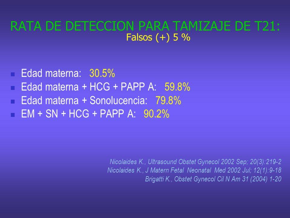 RATA DE DETECCION PARA TAMIZAJE DE T21: Falsos (+) 5 %