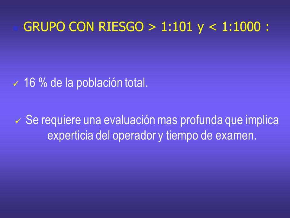 GRUPO CON RIESGO > 1:101 y < 1:1000 :