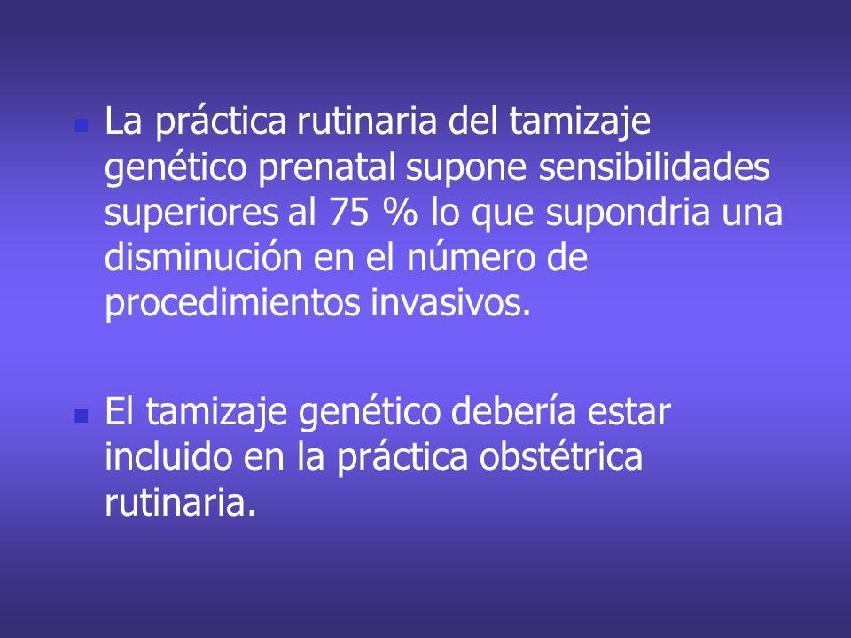 La práctica rutinaria del tamizaje genético prenatal supone sensibilidades superiores al 75 % lo que supondria una disminución en el número de procedimientos invasivos.