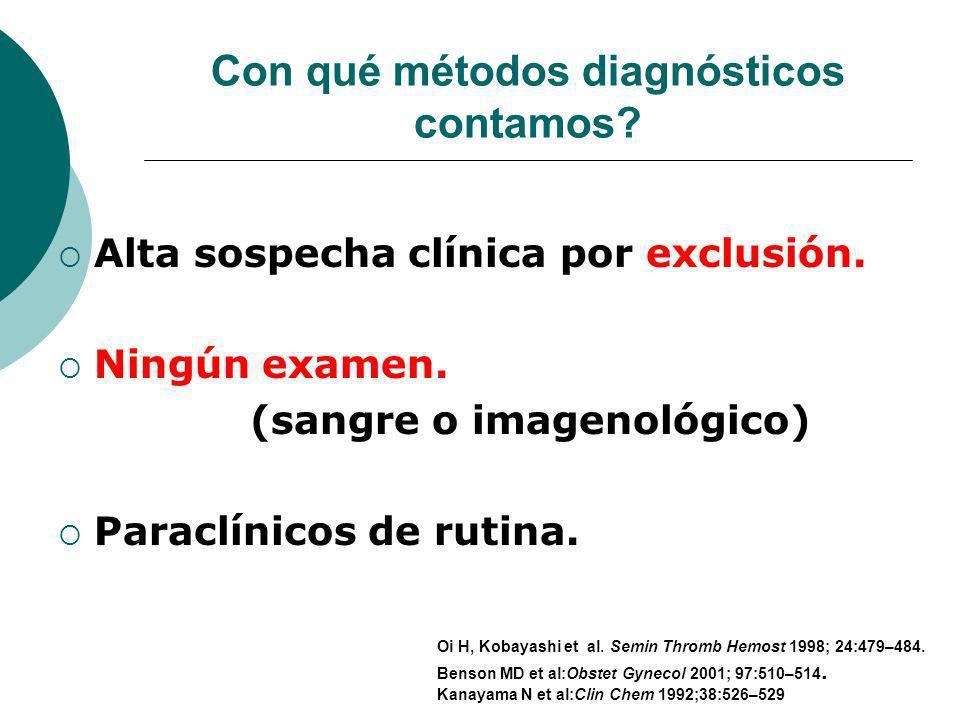 Con qué métodos diagnósticos contamos