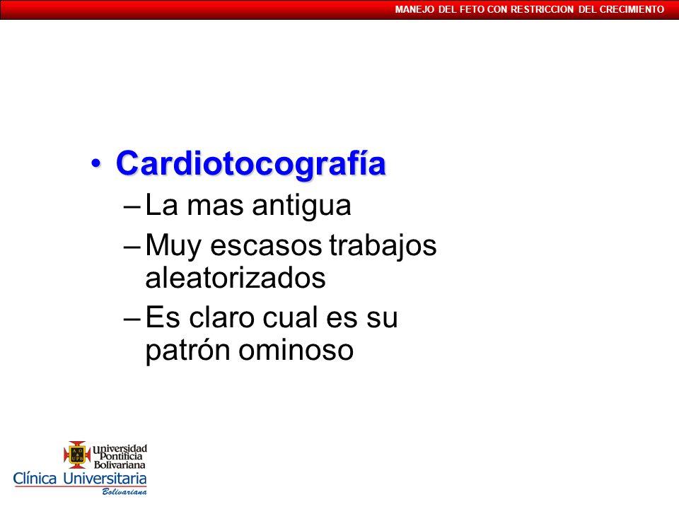Cardiotocografía La mas antigua Muy escasos trabajos aleatorizados
