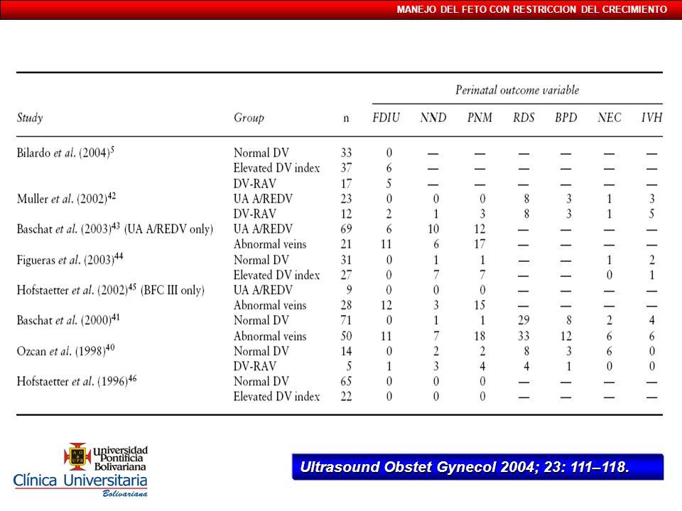 Ultrasound Obstet Gynecol 2004; 23: 111–118.