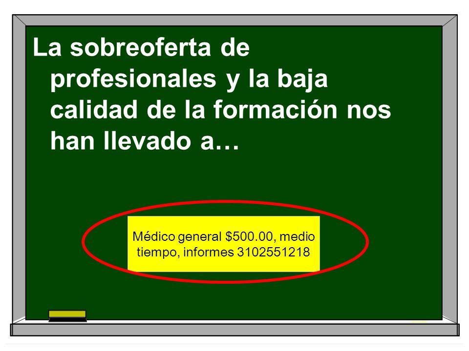 Médico general $500.00, medio tiempo, informes 3102551218