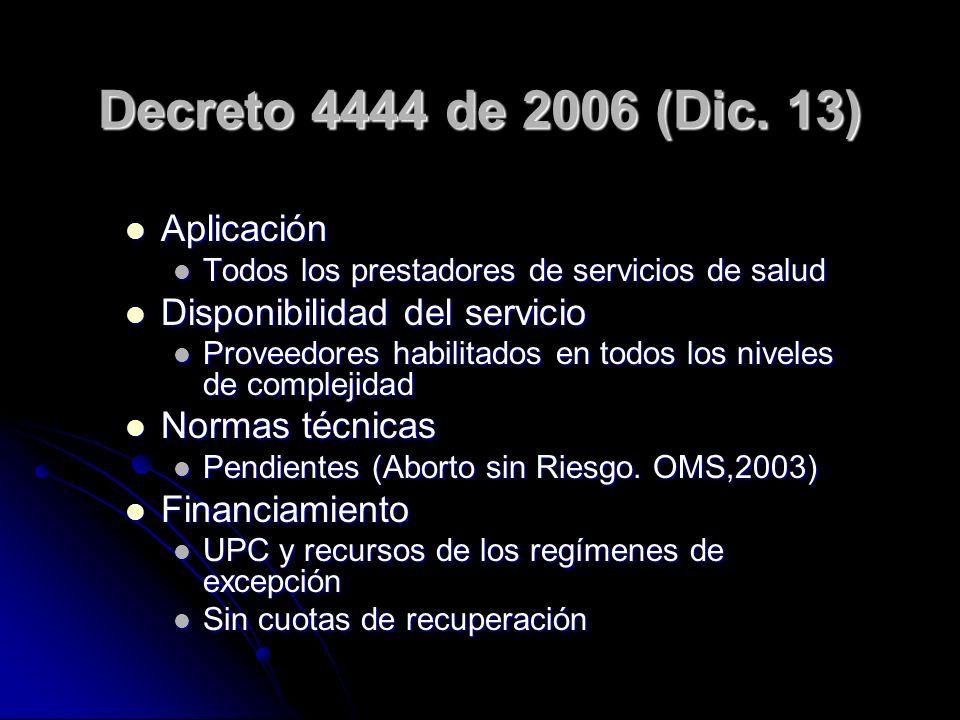 Decreto 4444 de 2006 (Dic. 13) Aplicación Disponibilidad del servicio