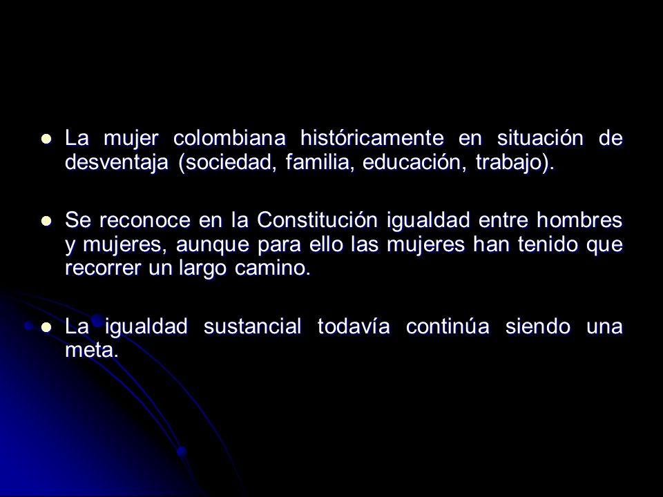 La mujer colombiana históricamente en situación de desventaja (sociedad, familia, educación, trabajo).