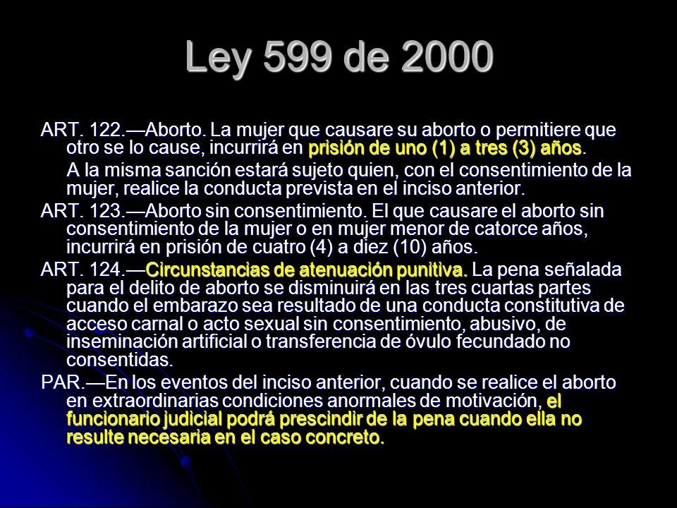 Ley 599 de 2000 ART. 122.—Aborto. La mujer que causare su aborto o permitiere que otro se lo cause, incurrirá en prisión de uno (1) a tres (3) años.
