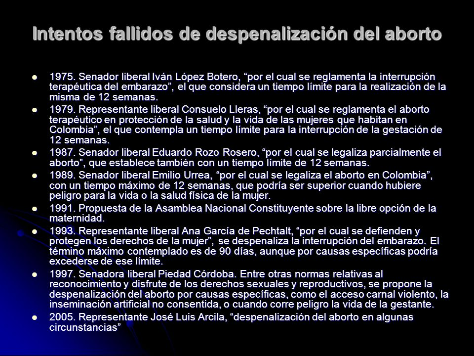 Intentos fallidos de despenalización del aborto