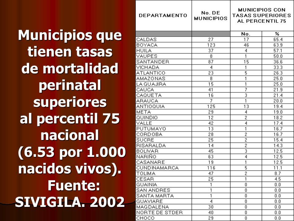 Municipios que tienen tasas de mortalidad perinatal superiores al percentil 75 nacional (6.53 por 1.000 nacidos vivos).