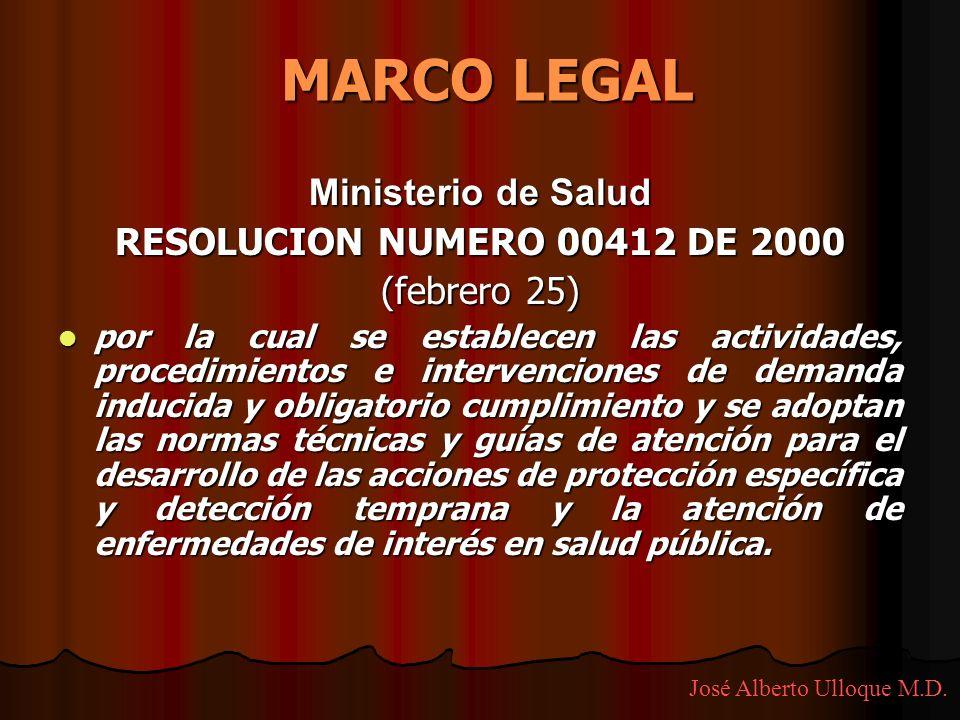 MARCO LEGAL Ministerio de Salud RESOLUCION NUMERO 00412 DE 2000
