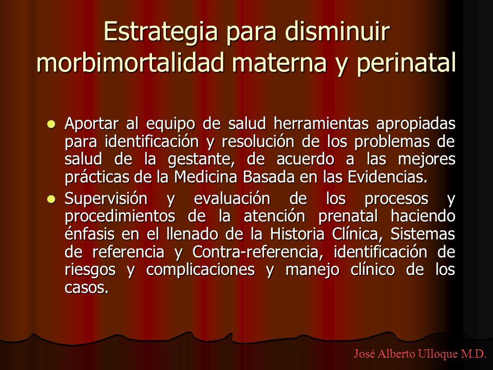 Estrategia para disminuir morbimortalidad materna y perinatal