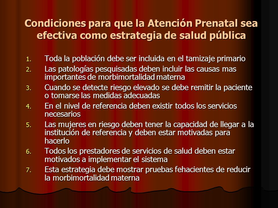 Condiciones para que la Atención Prenatal sea efectiva como estrategia de salud pública