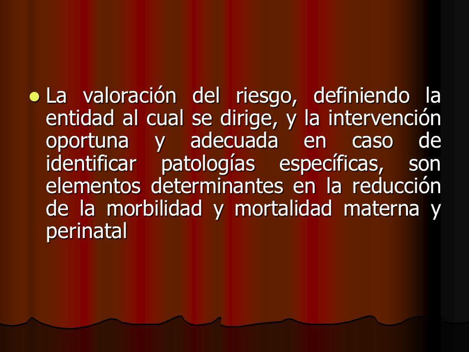 La valoración del riesgo, definiendo la entidad al cual se dirige, y la intervención oportuna y adecuada en caso de identificar patologías específicas, son elementos determinantes en la reducción de la morbilidad y mortalidad materna y perinatal