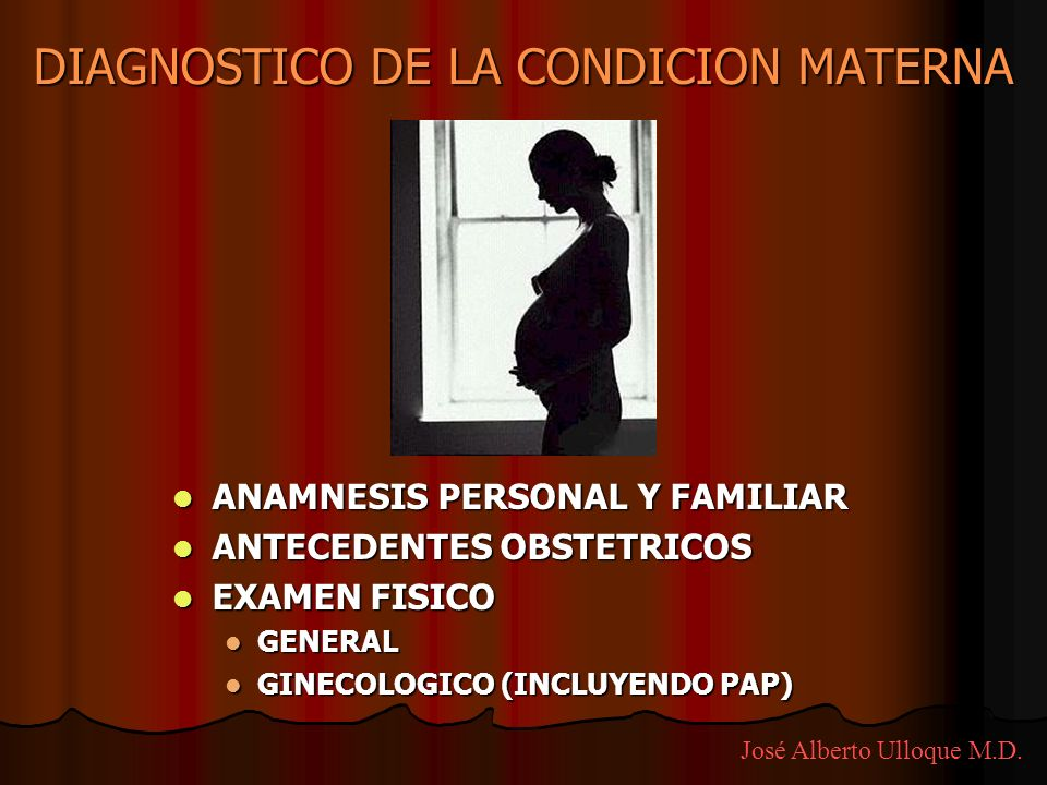 DIAGNOSTICO DE LA CONDICION MATERNA