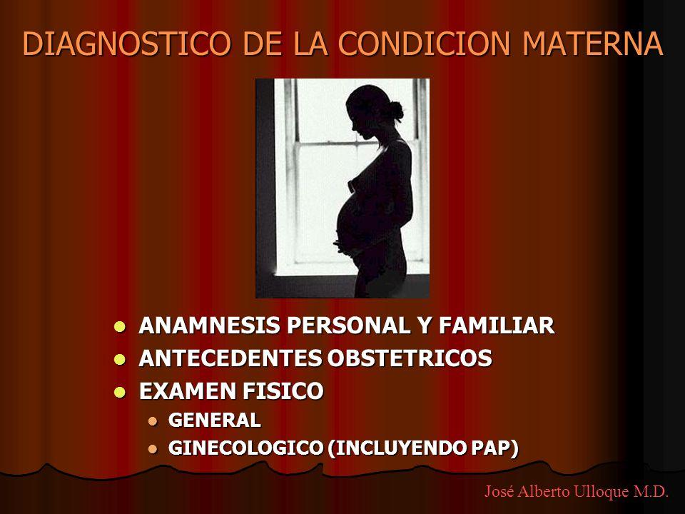 DIAGNOSTICO DE LA CONDICION MATERNA