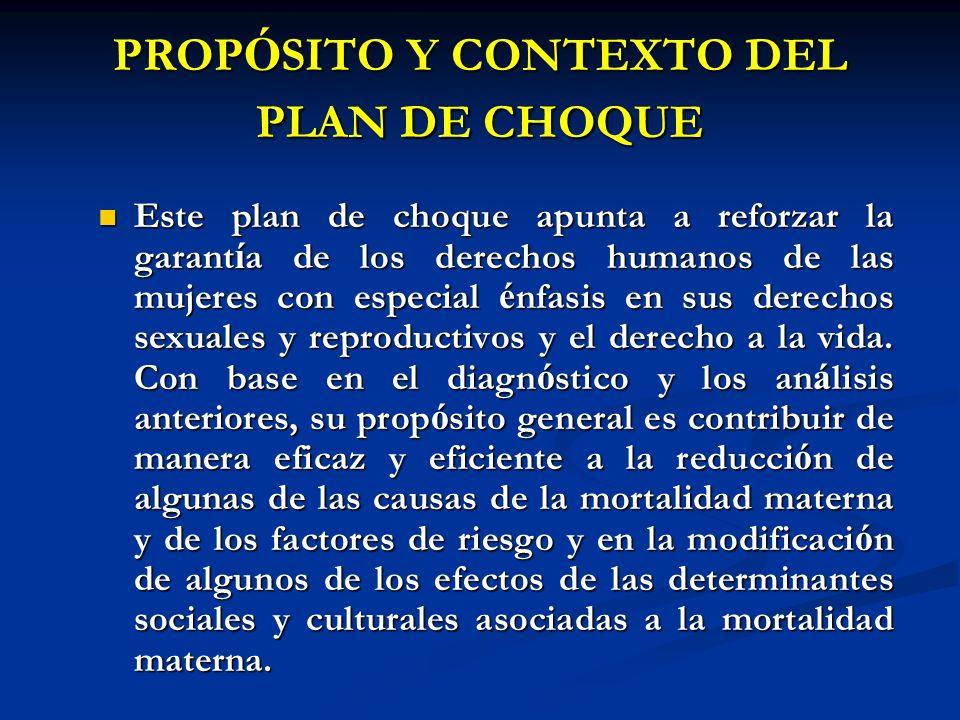 PROPÓSITO Y CONTEXTO DEL PLAN DE CHOQUE