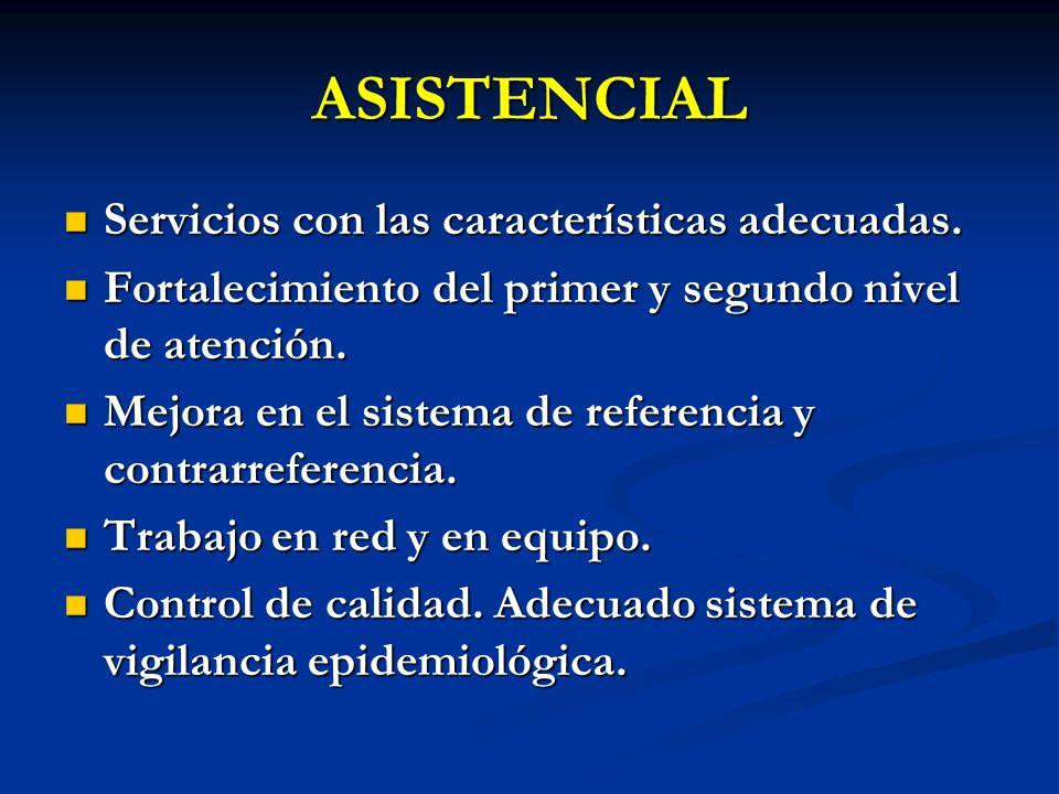 ASISTENCIAL Servicios con las características adecuadas.