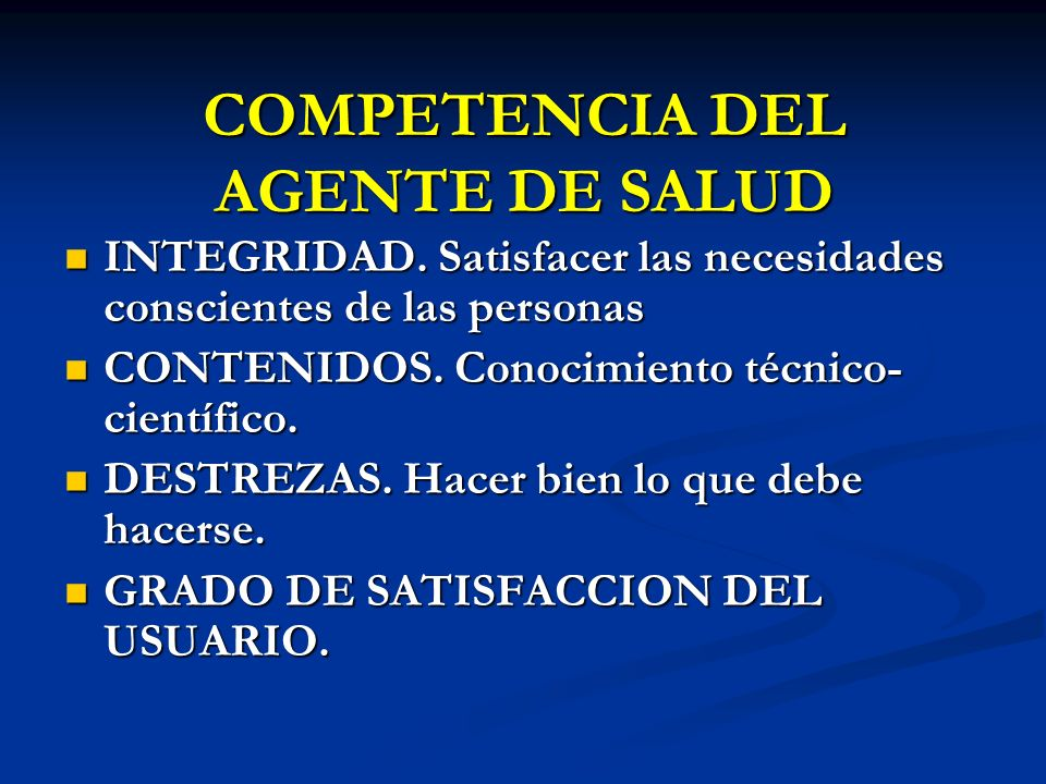 COMPETENCIA DEL AGENTE DE SALUD