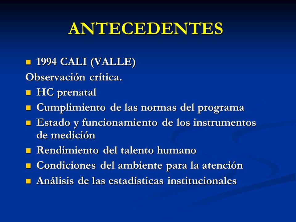 ANTECEDENTES 1994 CALI (VALLE) Observación crítica. HC prenatal