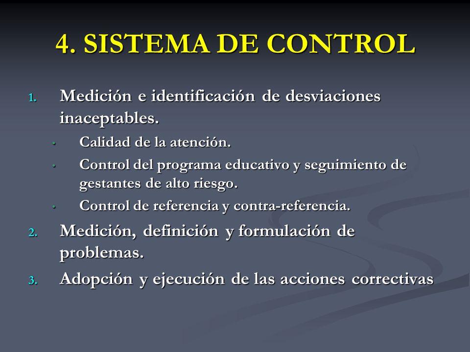 4. SISTEMA DE CONTROL Medición e identificación de desviaciones inaceptables. Calidad de la atención.