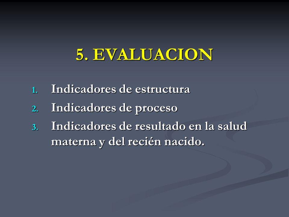 5. EVALUACION Indicadores de estructura Indicadores de proceso