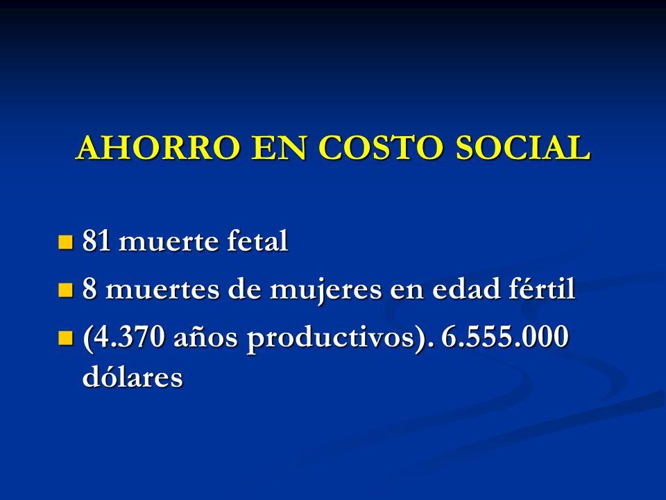 AHORRO EN COSTO SOCIAL 81 muerte fetal