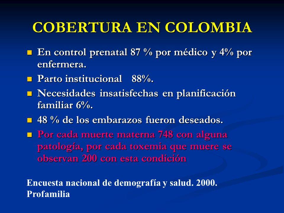 COBERTURA EN COLOMBIAEn control prenatal 87 % por médico y 4% por enfermera. Parto institucional 88%.