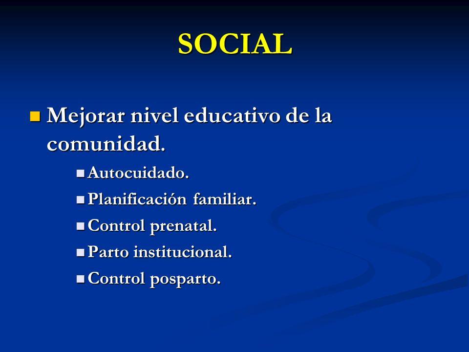 SOCIAL Mejorar nivel educativo de la comunidad. Autocuidado.