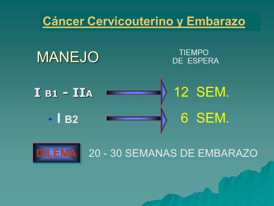 MANEJO 12 SEM. I B2 6 SEM. Cáncer Cervicouterino y Embarazo I B1 - IIA